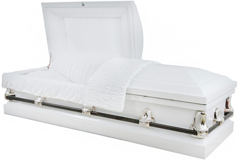 M-4223-FS  20 Gauge non-protective  White w/silver hardware w/white crepe interior It really is the ideal casket. Not one casket is better than another.   The differences in caskets are all meant for presentation, it is the vault that protects from the elements.
