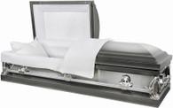 M7132FS 2 tone silver brushed metal casket  protective