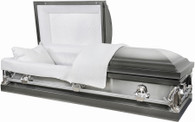 M7132FS 2 tone silver brushed metal casket  protective