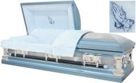 M8324FS 18 Gauge protective metal casket with swing handles and lgt blue velvet interior