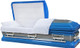 M8406FS 18 Gauge Protective metal casket Blue 2 tone brushed top and sides