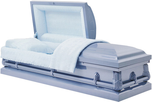 M-3992-FS  JAXSON  20 gauge non-protective  in lite blue with lt blue crepe interior The ideal casket