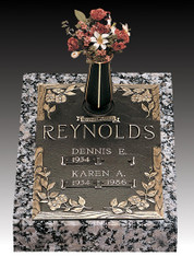 """Dynasty Dogwood""  S-135-V1  Double Internment Bronze over Granite.  A companion marker for those that are buried one atop the other."