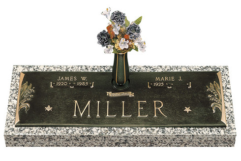 """GB33 V1  """"Lilly of the Valley""""  Companion Bronze over Granite marker.  Choose your bronze shade, choose your granite color, choose your three bronze emblems.  Choose to add a vase or not.  You can choose to add personal wording to your memorial."""