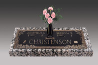 GB173 V1  Fruit of Life  Companion Bronze over Granite Marker.  Choose your bronze shade, choose your granite color, choose your bronze emblems,.  You can add a vase.