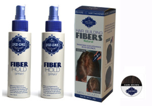 Hair Fibers in Dark Brown and 2 containers of hold spray