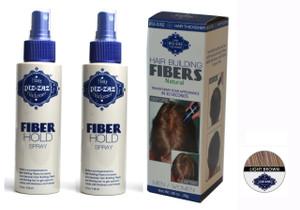 Hair Fibers & 2 Spray Kit - Light  Brown