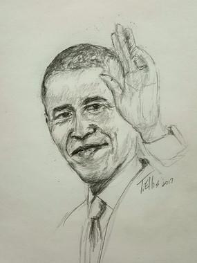 T. Ellis drawing of president Obama 2017