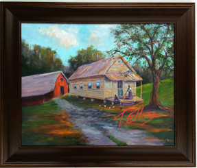 """My Old Home"", is a beautifully framed hand embellished canvas replica measuring 22x28. This exquisite rendering depicts simple living out in the country. T. Ellis  captures another lifestyle moment. $1250.00"