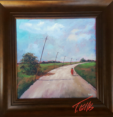 The Same Road I Take Home Everyday, 16x16, T. Ellis framed original 3650.00