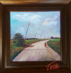 The Same Road I Take Home Everyday, 16x16, T. Ellis framed original 3650.00