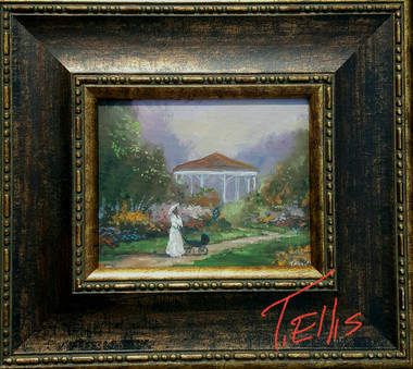 Our Daily  Stroll, 8x10 T. Ellis framed original painting, 2650.00