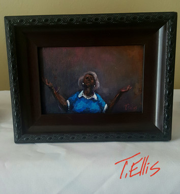 He Provides Me with All that I Need, 4x6, framed miniature  T.Ellis original. www.tellisfineart.com