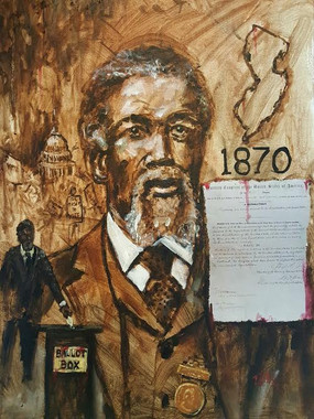 The First Vote, 18x24, limited edition of 25 hand embellished canvas replicas, each retouched by the artist by T. Ellis. Thomas Mundy Peterson was the first African-American to vote after the 15th Amendment.