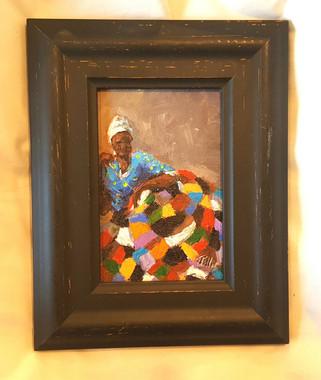 It Keeps Me Warm and Safe, 6x4 T. Ellis miniature original framed $850.00