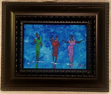 Three Divas 5x7, T. Ellis miniature original framed $1500.00