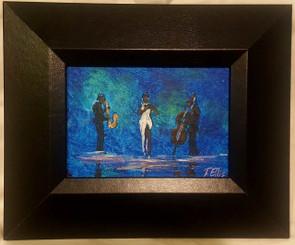 Jazz Queen, 5x7, T. Ellis miniature original, framed