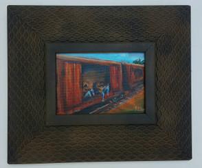 Riding on the Rail Lines-5x7 T. Ellis framed original painting  $1500.00
