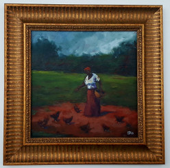 Feeding the Yard of Chickens I-15x15 T. Ellis framed original painting. $3,450.00