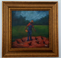Feeding the Yard of Chickens Il-15x15 T. Ellis framed original painting. $3,450.00
