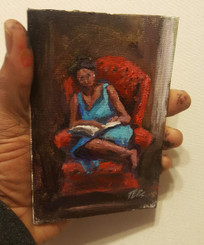 In My Comfort- T.Ellis miniature original framed $850.00 sale $600.00