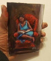 In My Comfort- T.Ellis miniature original 6x4 framed $850.00