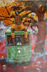 Zulu Fantasy Express- 36x24 official 2019 Zulu Mardi Gras poster signed and includes hand embellished drawing on poster by artist T.Ellis.