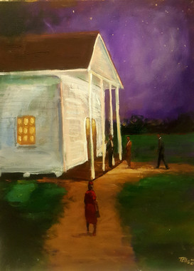 Evening Service-Loyal church-goers spend their whole day in worship. Our small church is filled with God fearing saints. This T. Ellis original painting size is 24x18 the value is $5,500.00 www.tellisfineart.com