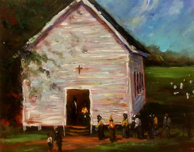 Time for Church-Dedicated church-goers love worshiping and this house of God is filled with God fearing saints and they are ready to praise their Savior. This T. Ellis original painting size is 8x10 the value is $2,650.00 www.tellisfineart.com
