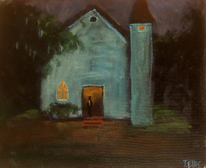 Night Time Service-Some of the best church preaching is at night and sometimes it goes into the morning. The deacon is always there. This T. Ellis original painting size is 8x10 the value is $2,650.00 www.tellisfineart.com