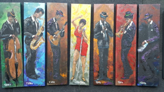 Deposit for commission of 7 jazz paintings 33x11ea gallery wrapped. Second payment of  $2541.67, balance $2541.67.Commissioned by Mr. Larry Fairley