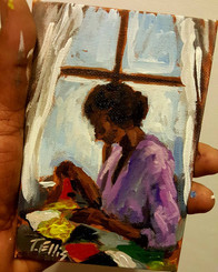 Patching My Quilt- T. Ellis 6x4 miniature painting special offer $500. Value $850.00