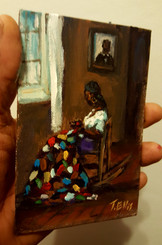 Her Quilt, Her Stories- T. Ellis miniature painting 6x4 Priced $850.00