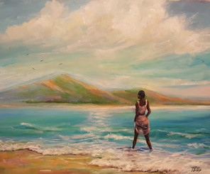 """In My Paradise"", 16x20 original captures the beauty of nature in so many ways. T. Ellis has a unique way of exposing the serene elegance, grace and nobility of the woman of color.  Her presence lies within the turquoise waters of the Caribbean with the warmth of the sun bathing down her body. You can feel that she is comfortable in the power of the sea. She is one with nature and all its beauty, she is in her paradise! Retail $3,750.00  To purchase "" In My Paradise"" email T. Ellis at tedellisart@gmail or call him at 832.385.2249 directly to arrange purchase or buy directly at http://www.tellisfineart.com/in-my-paradise/  Thanks for your continued support of T. Ellis Fine Art!!!!"