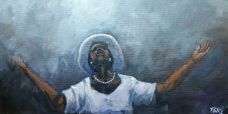 Lord I Surrender to Your Will- 12x24 original T. Ellis framed painting. She worships her Lord expressing her feeling and thoughts. She has surrendered.   Retail $3,750.00
