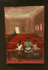 Sunday Morning Service 6x4 T. Ellis miniature painting $850.00