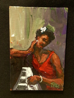 Playing the Right Key, 6x4 T. Ellis miniature painting $850.00