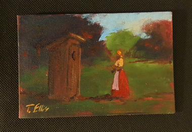That Old Outhouse, 4x6 T. Ellis miniature painting $850.00