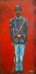 Colored Soldier- Memorial Day Tribute, T. Ellis original painting, 16x8, framed, special price $1500.00 reg. 2650.00