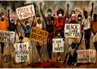 """Our Time Has Come"", 18x24 signed print by T. Ellis.  FREE SHIPPING Regular price $175.00.  -Art, Protest & Social Activism. Support change that is constructive. As an African American we deserve and demand equal treatment under the law. Living in fear and terror is intolerable in America. T. Ellis 6/6/20  Regular price $175.00.  -Art, Protest & Social Activism. Support change that is constructive. As an African American we deserve and demand equal treatment under the law. Living in fear and terror is intolerable in America. T. Ellis 6/6/20"