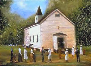 Sunday Worship,  a signed print, size (16x20)  by T. Ellis.  His art  captures the religious experience in the African-American community. Price $75.00