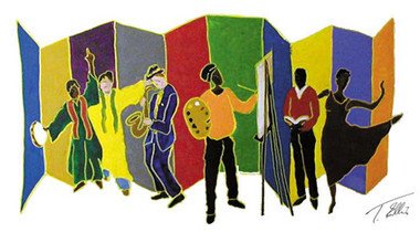 Celebrating the Arts | T. Ellis, one the famous African-American artists of his time created a contemporary painting illustrating the contributions and importance of the arts in our community and society.  The arts has always brought joy to humanity. In the forms of dancing, singing, music, poetry, the spoken word and through the expression of fine art. We have always been gifted and enlightened  through the arts. http://www.tellisfineart.com/celebrating-the-arts/  Open Edition Lithograph Size: 18x24 $75.00