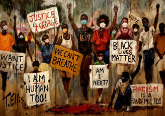 """Our Time Has Come"""", 18x25 signed print by T. Ellis.  FREE SHIPPING  Regular price $175.00.  -Art, Protest & Social Activism.  Support change that is constructive. As an African American we deserve and demand equal treatment under the law. Living in fear and terror is intolerable in America. T. Ellis 6/6/20"""