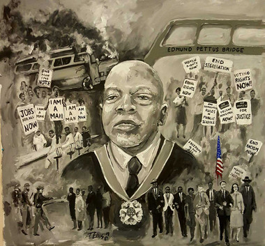 "The John Lewis Story, 20x20, hand-signed print by T. Ellis.  The John Lewis Story- Inspired by Dr. Martin Luther King and Rosa Parks that John Lewis found his life commitment to serve his people and fight nonviolently for civil and human rights. Congressman John Lewis is known on Capitol Hill as the ""Soul of the Civil Rights Movement"". This narrative portrait captures his unselfish and passionate service to champion the rights of others, particularly, African Americans. Every aspect of the Civil Rights struggle, John Lewis was present. In was there as a ""Freedom Rider"", he walk from Selma to Montgomery, he worked hand in hand with the young SNCC organizers, he protested in Memphis, TN with the sanitation workers, he was there for the March on Washington and he is still on the Hill in Washington, DC fighting for justice."