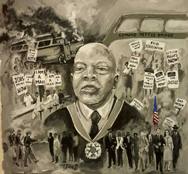 "The John Lewis Story, 20x20, 1/1 hand-signed hand-embellished print by T. Ellis. $350.00  The John Lewis Story- Inspired by Dr. Martin Luther King and Rosa Parks that John Lewis found his life commitment to serve his people and fight nonviolently for civil and human rights. Congressman John Lewis is known on Capitol Hill as the ""Soul of the Civil Rights Movement"". This narrative portrait captures his unselfish and passionate service to champion the rights of others, particularly, African Americans. Every aspect of the Civil Rights struggle, John Lewis was present. In was there as a ""Freedom Rider"", he walk from Selma to Montgomery, he worked hand in hand with the young SNCC organizers, he protested in Memphis, TN with the sanitation workers, he was there for the March on Washington and he is still on the Hill in Washington, DC fighting for justice."