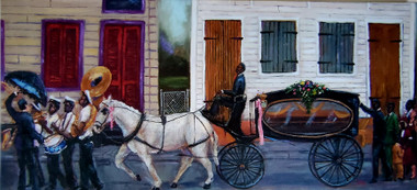 NOLA Funeral Procession-15x30 hand-embellished gallery wrapped canvas replica. Reg. price $450.00 Shopping Spree Extravaganza Price $300.00