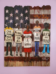 Independence Day-Still Fighting for Justice-hand-embellished gallery wrapped canvas replica. Reg. price $650.00 Shopping Spree Extravaganza Price $350.00