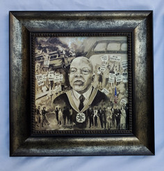 The John Lewis Story Framed- 15x15 framed textured print retail print $110.00 Shopping Spree Price $75.00