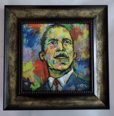 Obama the 44th President Framed- 15x15 framed textured print retail print $110.00 Shopping Spree Price $75.00