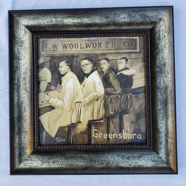 Greensboro Sit-In Framed-SSE 15x15 framed textured print retail print $110.00 Shopping Spree Price $75.00